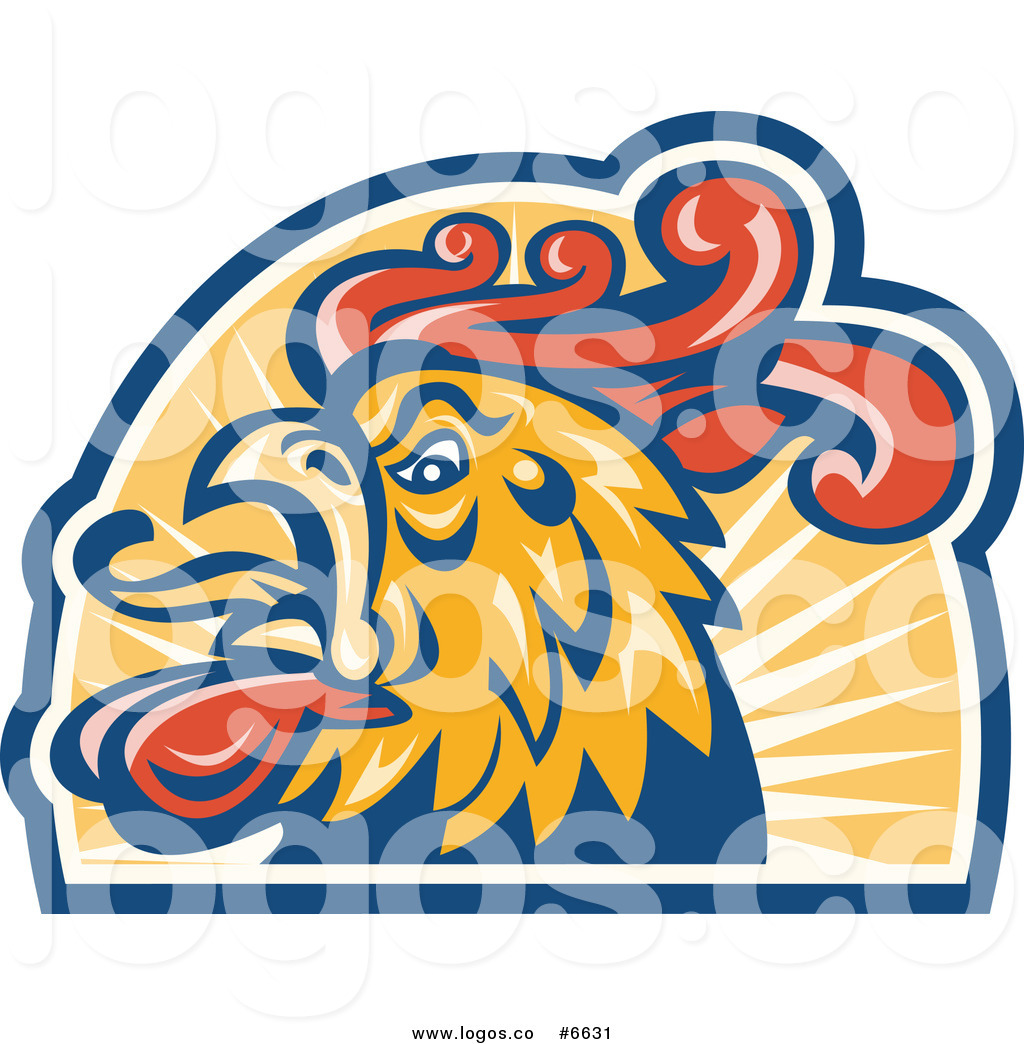 Logo Of A Crowing Rooster Head Over Sunshine By Patrimonio    6631