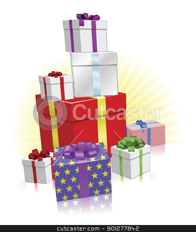 Lots Of Presents Concept Stock Vector Clipart Stack Of Wrapped Gifts