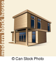 Modern Block House In Color   Illustration Of A Modern Block