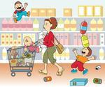 Mom Shopping With Kids Mom Shopping Icons Set On Texture Background