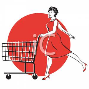 Of A Woman Pushing A Shopping Cart   Royalty Free Clipart Picture