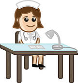 Receptionist Nurse Medical Cartoon   Stock Illustration