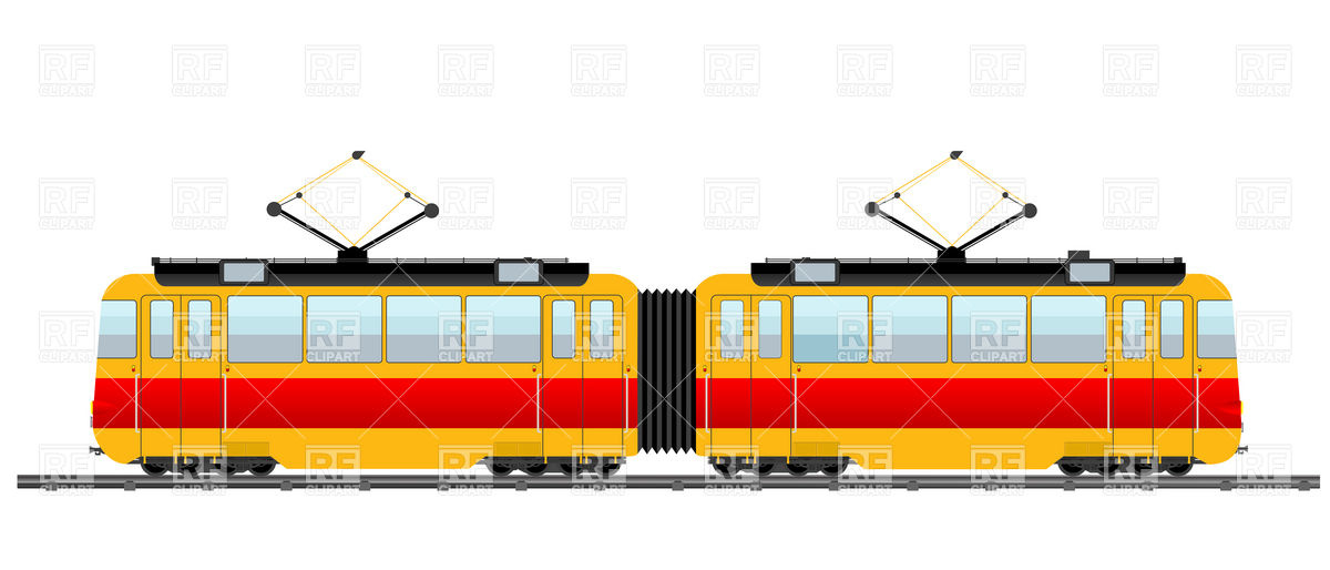 Red City Tram 6657 Transportation Download Royalty Free Vector Clip
