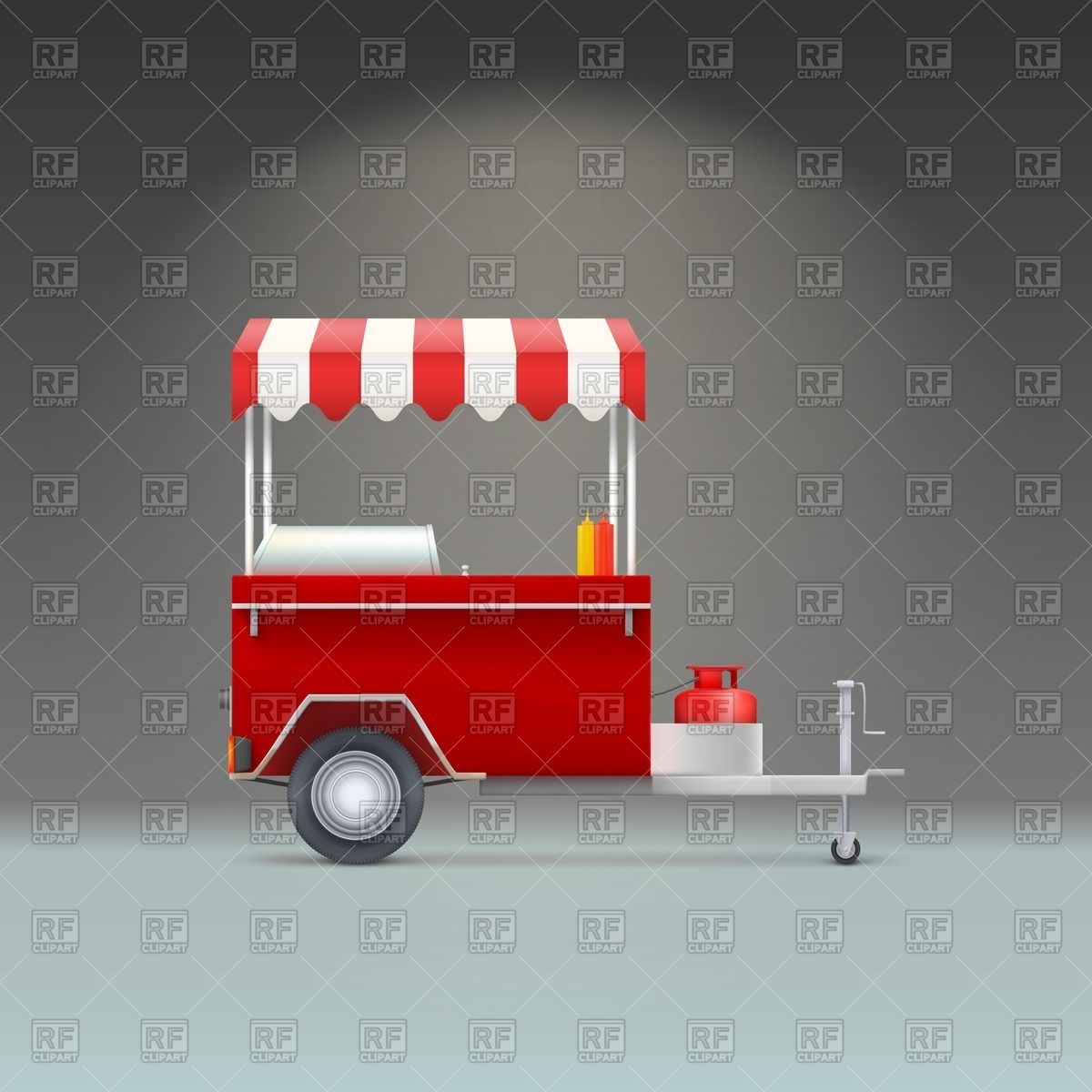 Red Fast Food Trolley   Hot Dog Store Objects Download Royalty Free