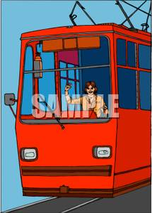 Red Trolley   Royalty Free Clipart Picture