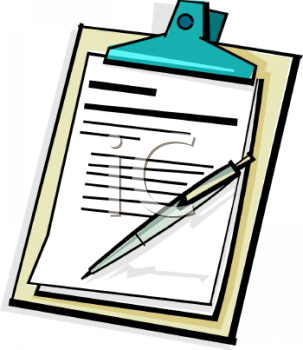 Royalty Free Clipart Image  Clipboard With A Pen And Documents
