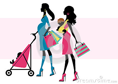 Royalty Free Stock Image  Two Beautiful Moms Shopping With Children
