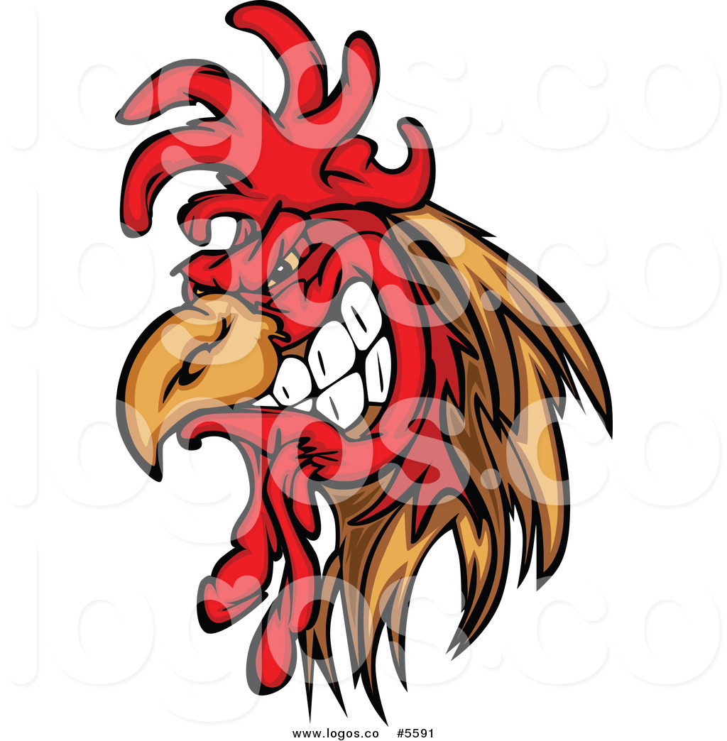 Royalty Free Vector Of A Logo Of An Angry Rooster Gritting His Teeth