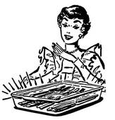Vintage Style Illustration Of A Woman With A Baking Dish Fresh From