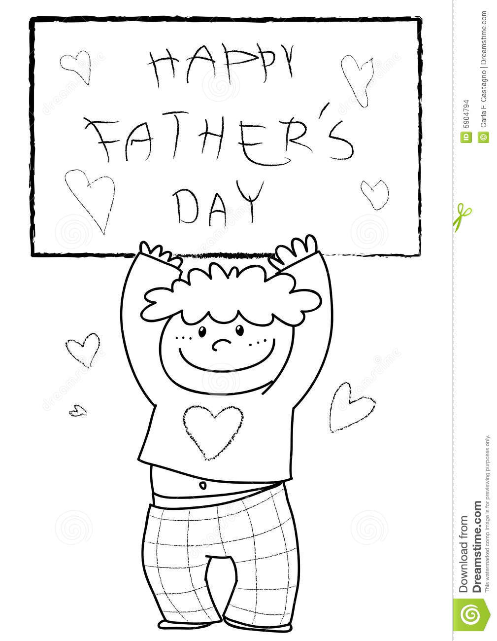 Boy Wishing Happy Father S Day  Black And White Vector Illustration