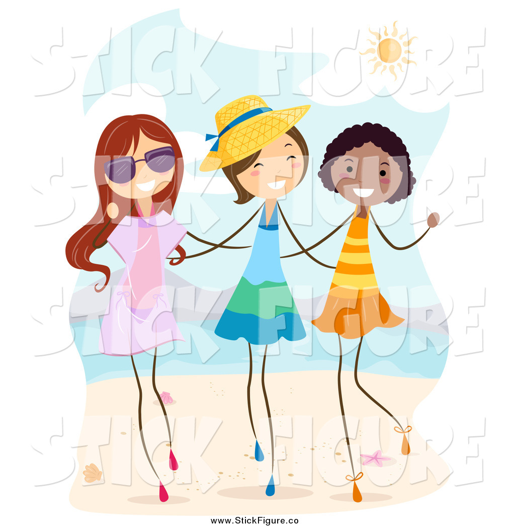 Clip Art Of Happy Stick Girls Walking On A Beach By Bnp Design Studio