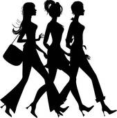 Clipart Of Pretty Lady Walking Down The Street U14879031   Search Clip