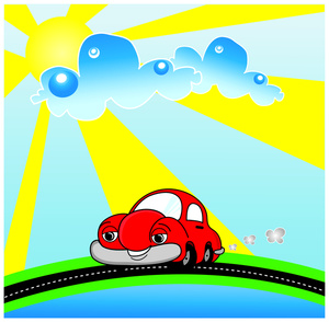 Drive Clipart Image   Cute Little Red Cartoon Car Out For A Drive On A