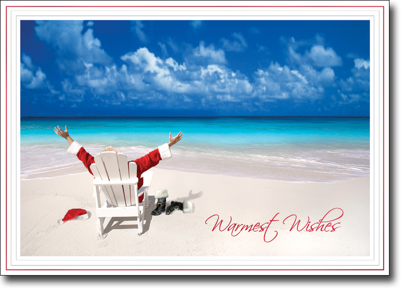 Holiday Cards   Tropical Ocean Theme Cards   Santa Relaxing At Beach