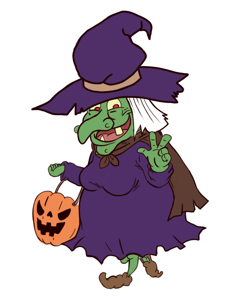 Halloween Witch & Moon Clipart - Clipart Kid