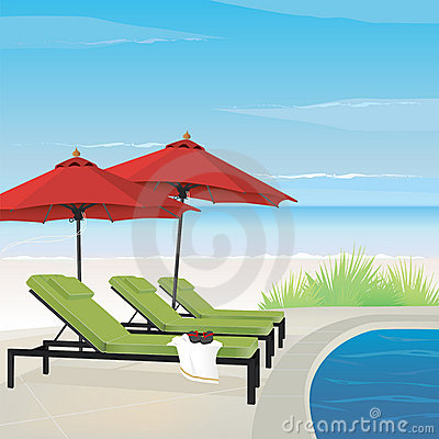 Relaxing Resort On Beach Royalty Free Stock Photos   Image  9646848