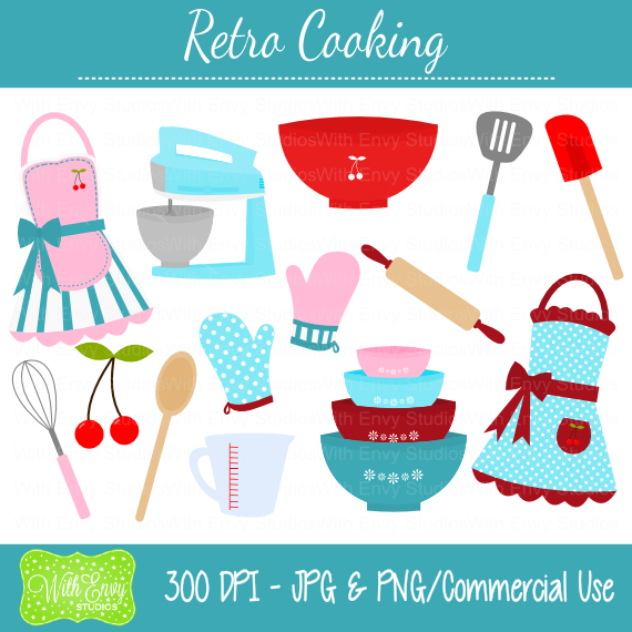 Retro Cooking Clipart Set   Instant Download