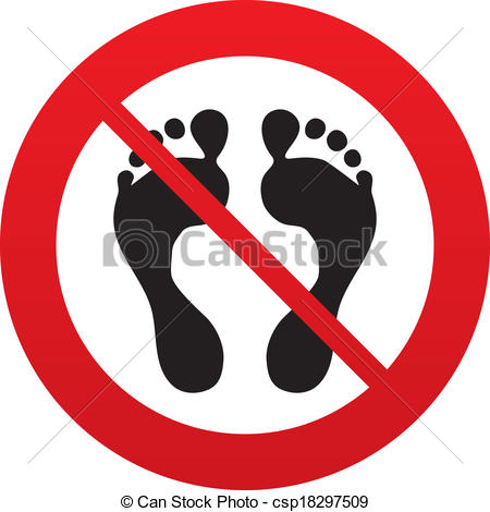 Sign Icon  No Barefoot Symbol  Foot Silhouette  Red Prohibition Sign