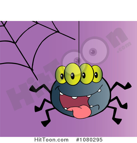 Spider Clipart  1080295  Four Eyed Creepy Spider Suspended From A Web