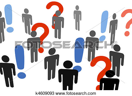 Symbol People Search For Information Among Exclamation Question Marks