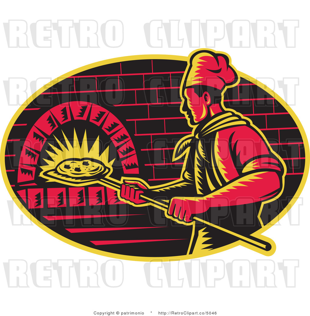 Vector Retro Clipart Of A Chef Cooking Pizza In A Brick Oven By
