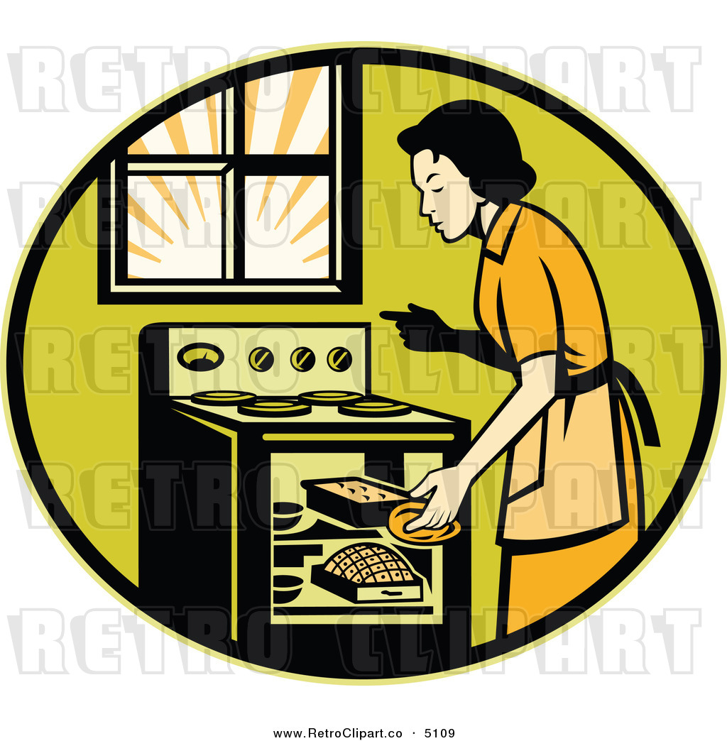 Vector Retro Clipart Of A Housewife Cooking Bread In An Oven By