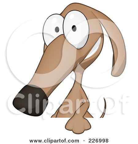 Wiener Dog Character Looking Around A Sign Board   Version 1 By Julos
