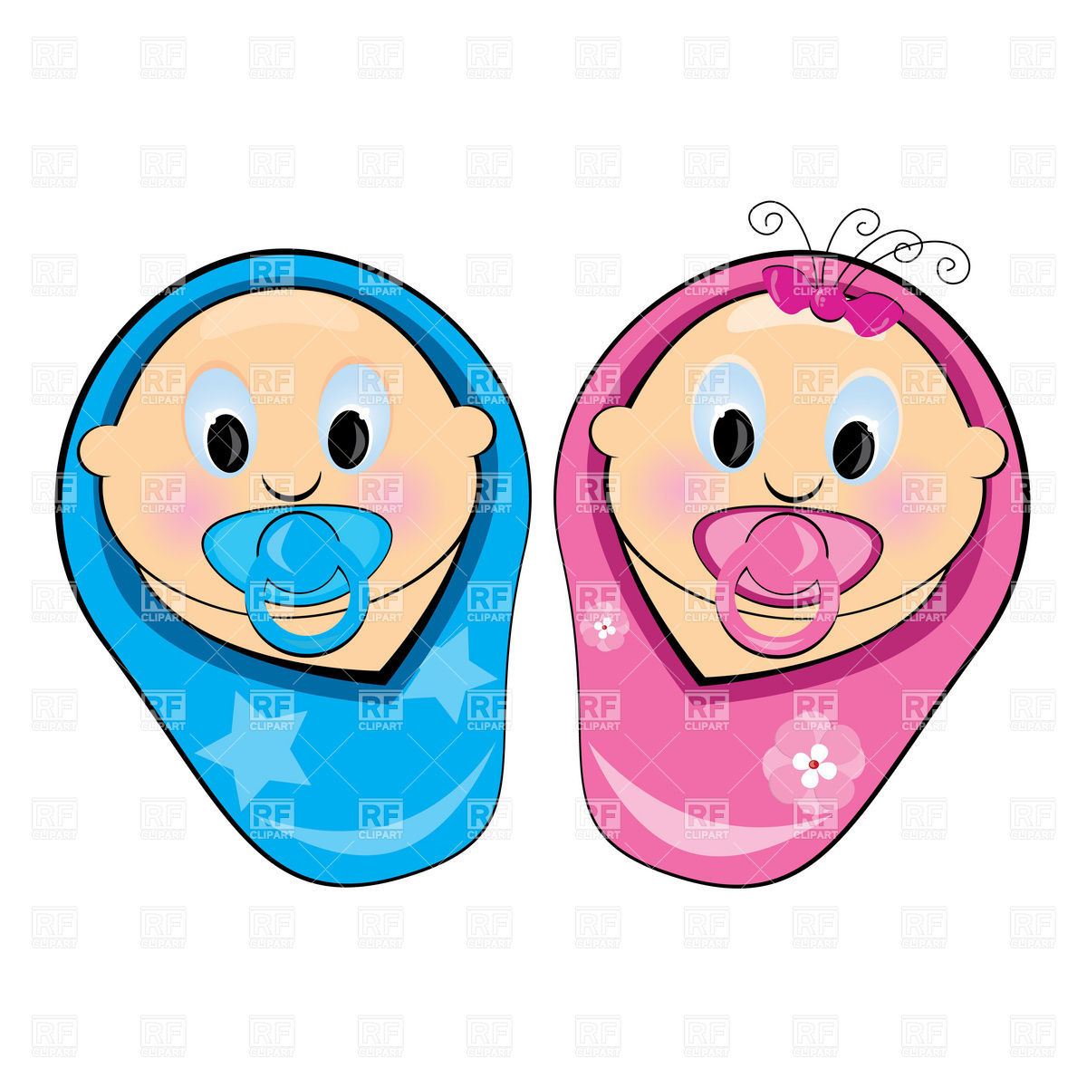 Baby Boy And Girl 7808 People Download Royalty Free Vector Clipart