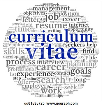 Clip Art   Curriculum Vitae Cv Concept In Word Tag Cloud On White