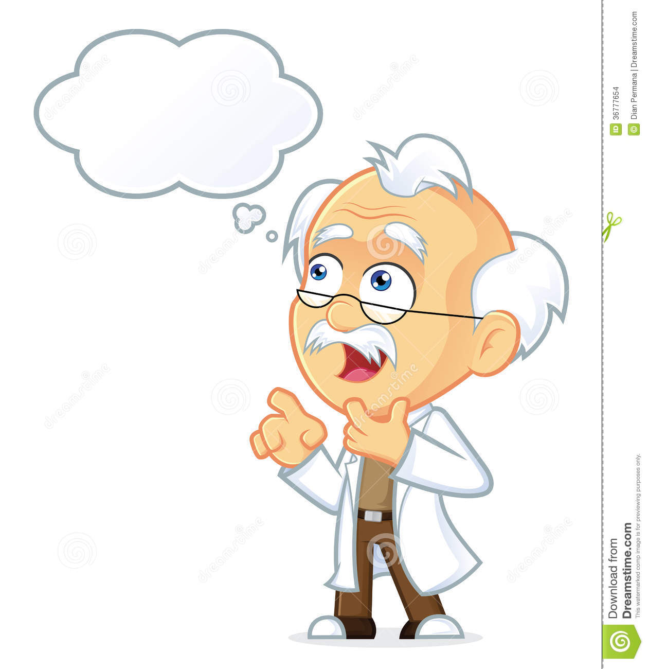 Clipart Picture Of A Professor Cartoon Character Thinking With White