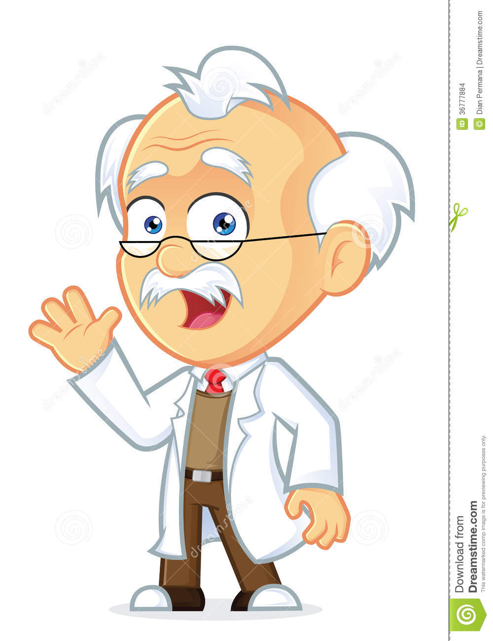 Clipart Picture Of A Professor Cartoon Character Waving