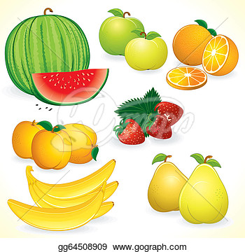 Drawings Ripe Juicy Fruits Set Of Detailed Icons Stock Clipart