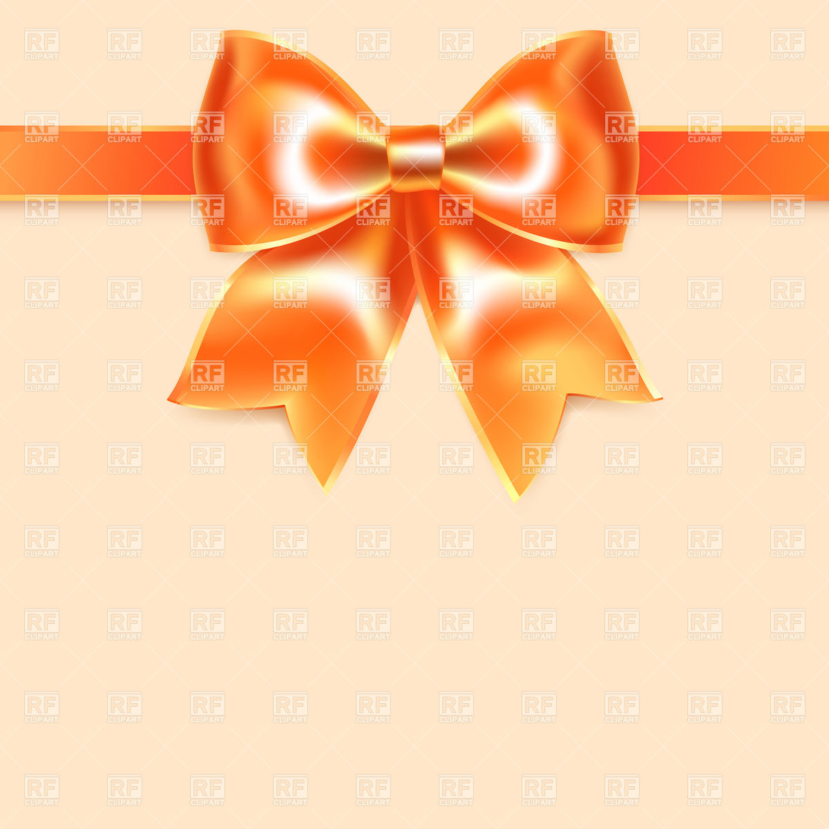 Orange Tape   Bow Of Silk Ribbon Download Royalty Free Vector Clipart