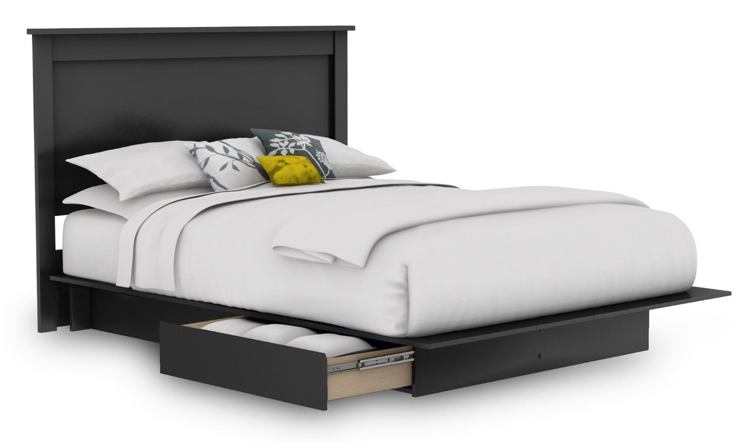 Queen Platform Bed Frame With Headboard And Storage Drawers In Black