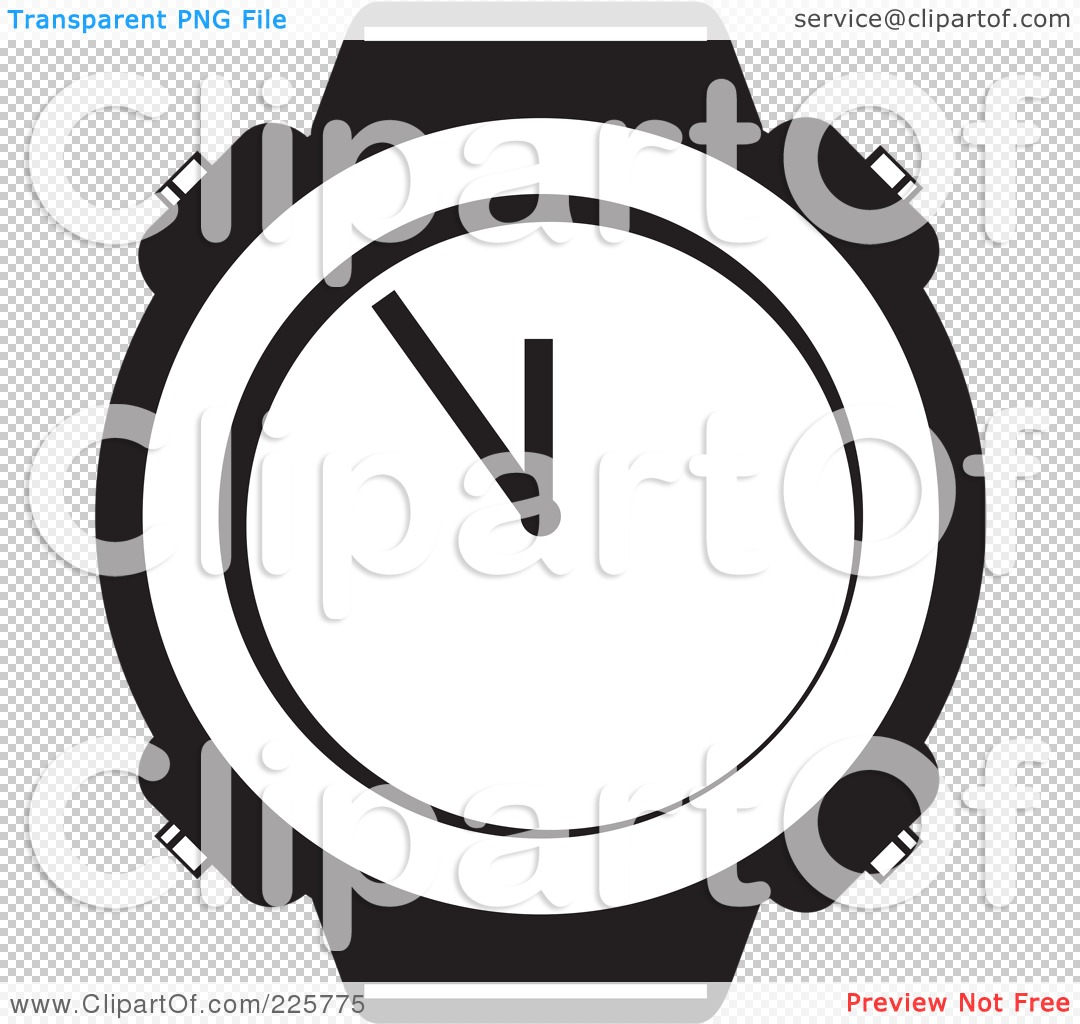 Royalty Free  Rf  Clipart Illustration Of A Black And White Watch Face