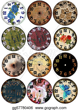 Stock Illustration   Grunge Clock Watch Faces 12   Clip Art Gg57780406
