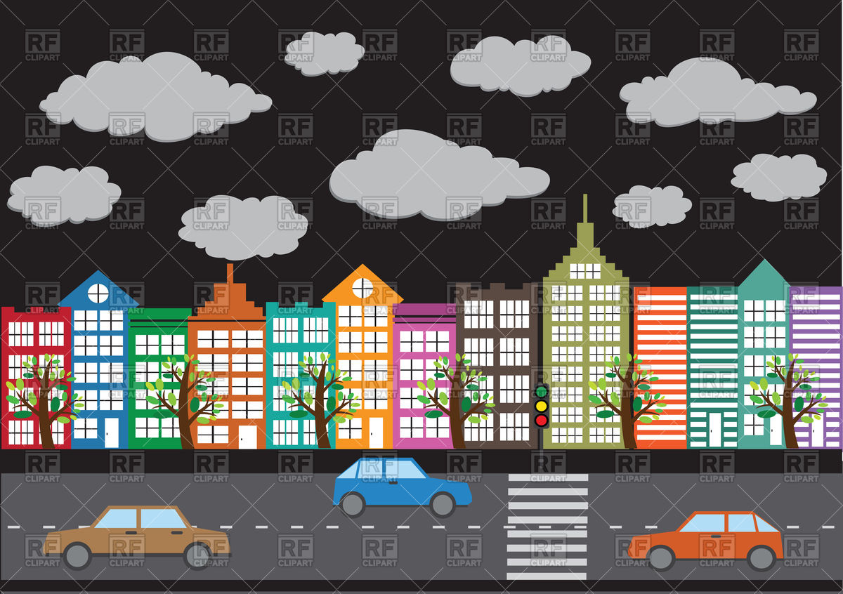 Town   Street And Houses 87944 Download Royalty Free Vector Clipart