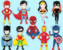 50  Off Mini Superheroes Digital Cl Ipart Batman And Robin Superman
