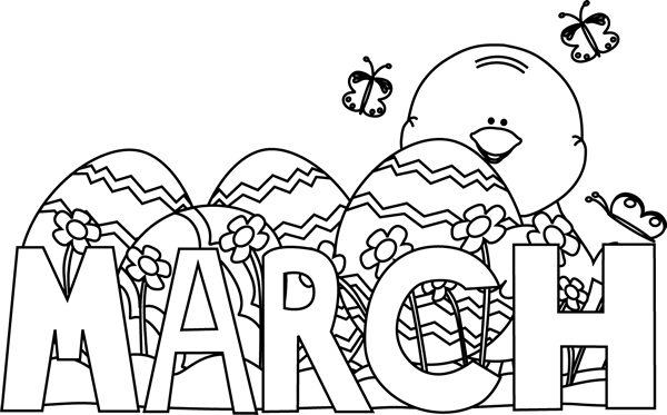 Black And White Month Of March Easter Clip Art   Black And White Month