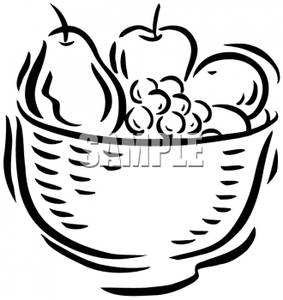 Fruit And Vegetable Clipart Black And White A Bowl Full Fruit In Black