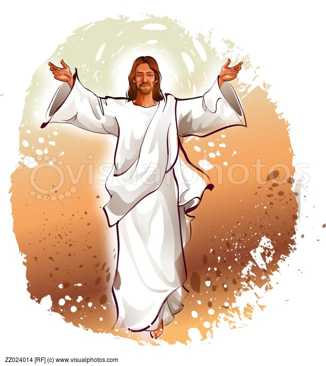 Jesus Christ Blessing With His Arms Outstretched   Stock Photos