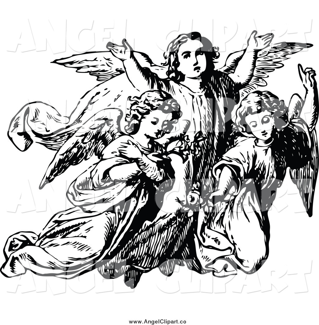 28 Angel Drawings Free Drawings Download: Guardian Angel Black And White Clipart