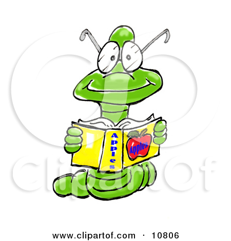 Male Green Worm Wearing A Tie And Reading A Book Clipart Illustration