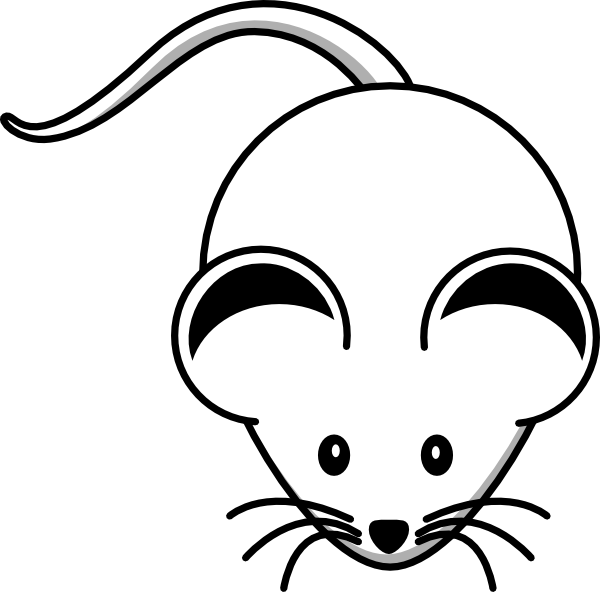Mouse Clipart Black And White White Mouse Black Ears Hi Png