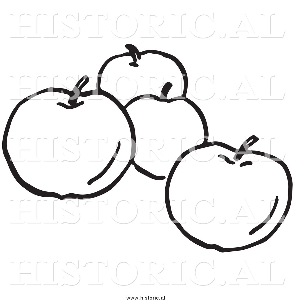 Apple Basket Black And White Clipart