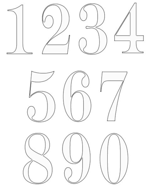 Black And White Numbers 1-10 Clipart