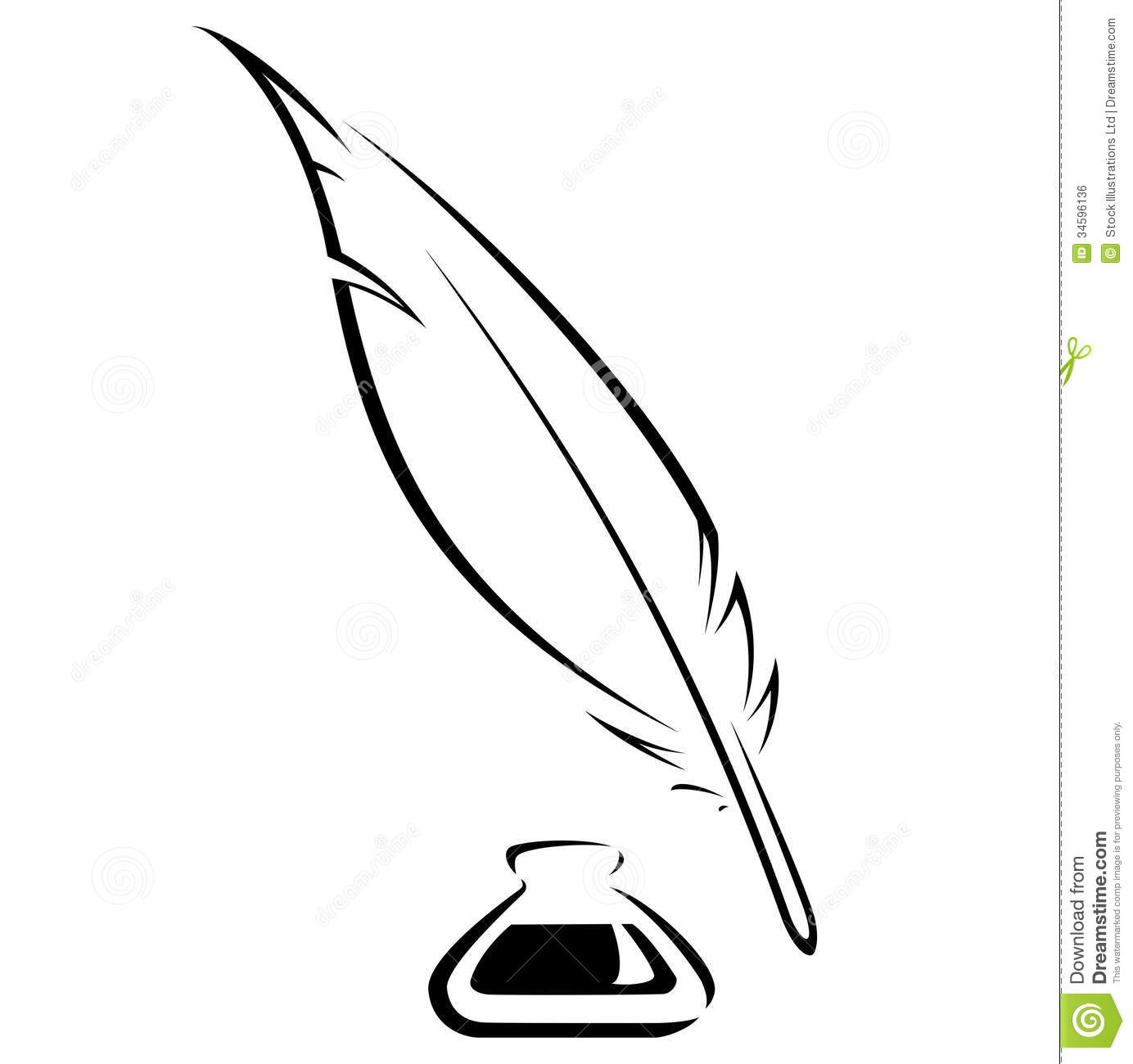 Quill And Ink Pot Black Vector Icon Royalty Free Stock Image   Image
