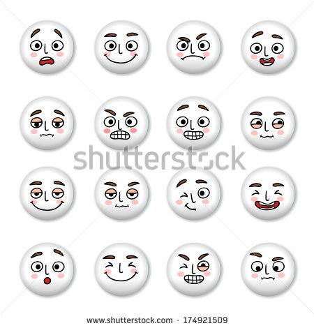 Smiley Faces Icons Set Of Sadness Winking And Confusion Isolated