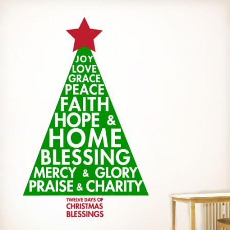 Twelve Christmas Blessings Wall Decal Quotes