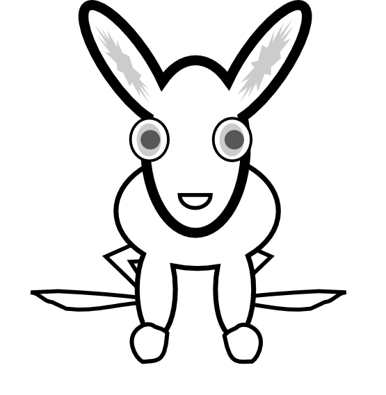 White Rabbit Black White Line Animal Easter Easter Scallywag March